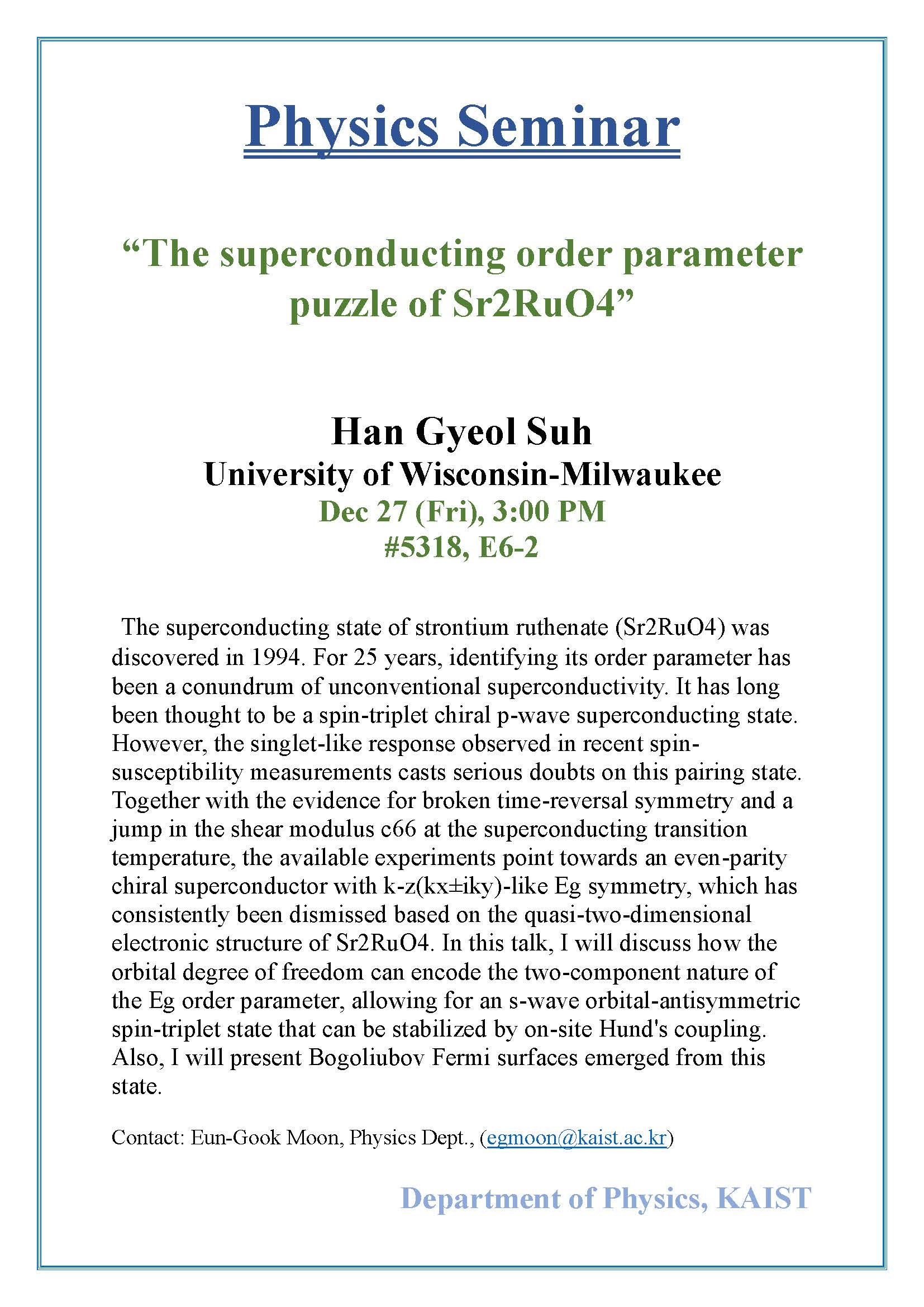 [Seminar Notice]The superconducting order parameter puzzle of Sr2RuO4 (12.27).jpg
